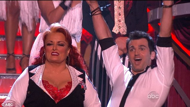 Hands aloft: Wynonna Judd was unsure what had just happened but Tony Dovolani was certain of their triumph