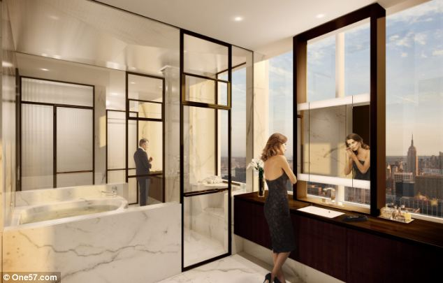 Luxury: The apartment is in the One57 tower, a 90-floor glass skyscraper