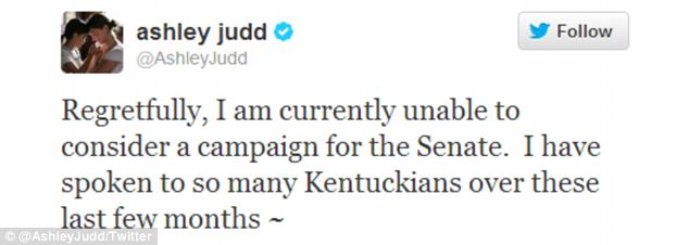 Ashley Judd tweeted her announcement that she would not be running for the US Senate seat held by Republican Mitch McConnell