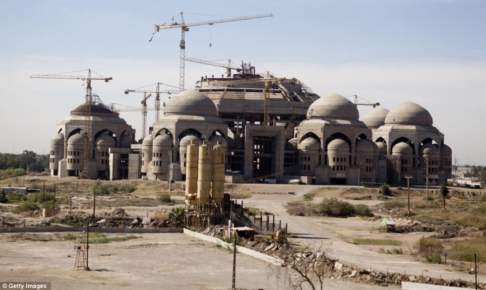 Unfinished: The Al-Rahman mosque that was started by Saddam Hussein in 1998 and meant to be one of the biggest mosques in Iraq. Building work stopped following the invasion in 2003