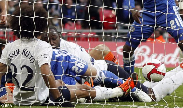 Controversial: Juan mata put Chelsea 2-0 ahead with a dubious goal in the FA Cup semi-final