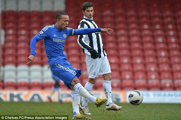Chelsea's Lewis Baker in action against Juventus