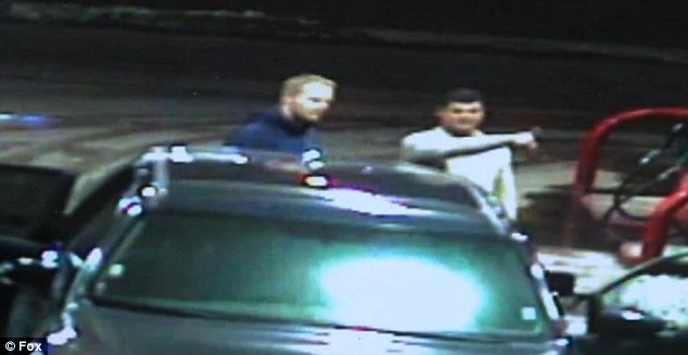 Mystery: Two men in a blue Toyota were pictured on surveillance cameras at the gas station in Kansas City. It is believed that they dropped the eyeballs in the trash