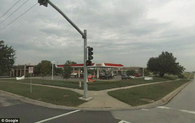 Keeping a lookout: The eyeballs were left at the Conoco gas station in Kansas City, Missouri on Wednesday night