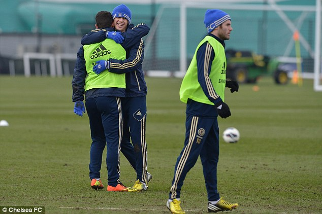 Three musketeers: Eden Hazard, Oscar and Juan Mata are ready to face Southampton on Saturday