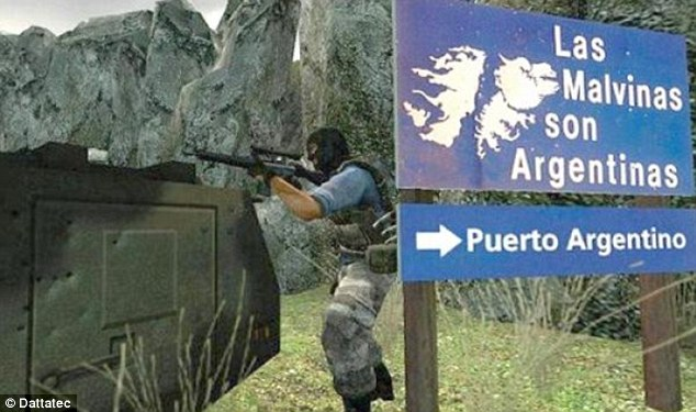 Digital warfare: UK hackers have launched a cyber attack on Argentine online video game Counter Strike (above) which features scenes from the Falklands War and allows players to shoot british 'terrorists'