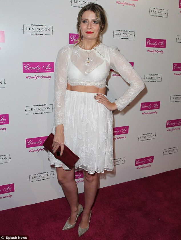 Feeling all white: Mischa's outfit unfortunately looked slightly more frumpy than Audrina's thanks to the sheer lace design