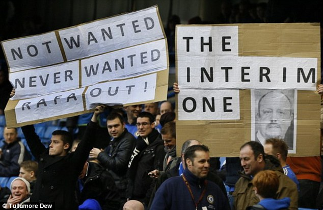 Unhappy: More fans express their displeasure at the appointment of Rafa Benitez as interim manager at Chelsea FC