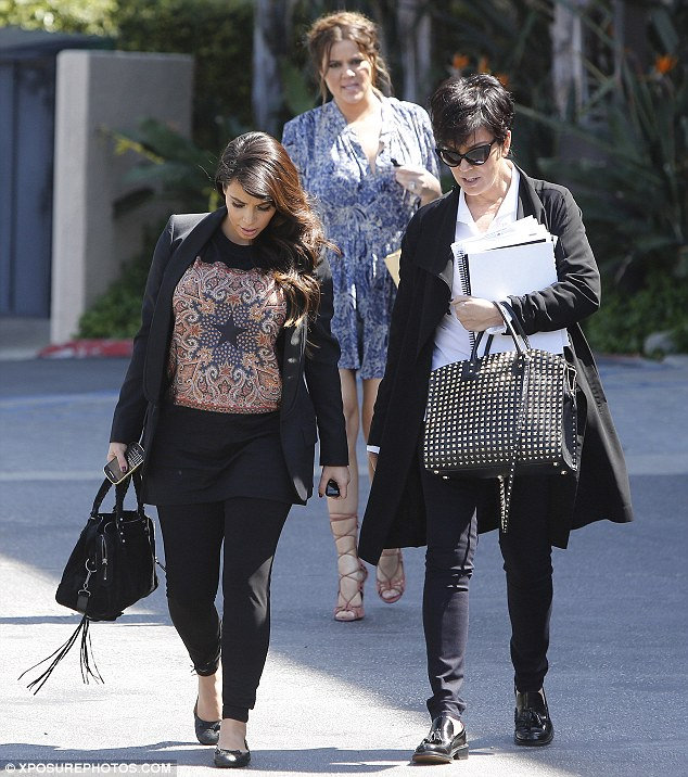 Meeting time: Khloe was also joined by her elder sister Kim and mother Kris Jenner for a meeting