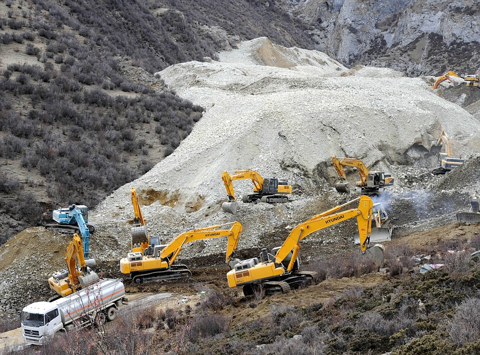 Mass: Around two million cubic metres of mud and rocks swept through the mine in Gyama, a village in Maizhokunggar county,Tibet, on Friday morning