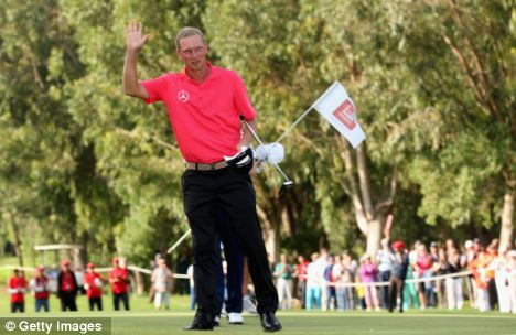 Leading from the front: Marcel Siem celebrates winning the Trophee Hassan II in Morocco
