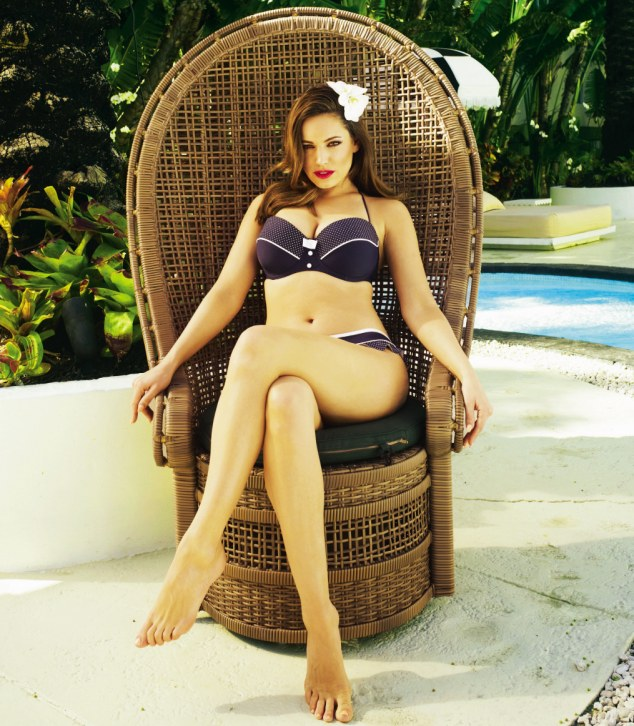 Sultry siren: Kelly Brook says the pictures of actress Helen Mirren in a bikini has given her confidence about aging