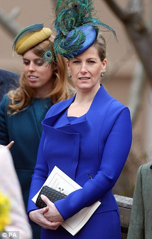 The Countess of Wessex attends the Easter Day service at St George's Chapel in the grounds of Windsor Castle, Berkshire