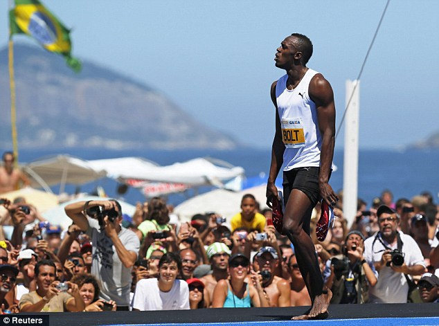 Quick: Bolt came home in a time of 14.42 seconds in the scorching heat