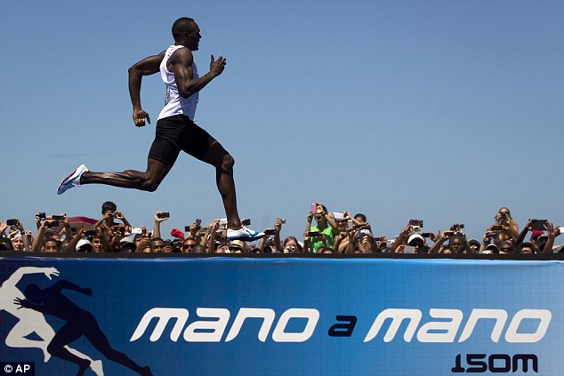Challenge: The Olympic sprint champion was competing in the 'Mano a Mano' race in Rio de Janeiro