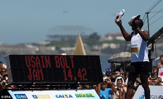 Close: Bolt fell 0.07 seconds short of his record set in Manchester in 2009