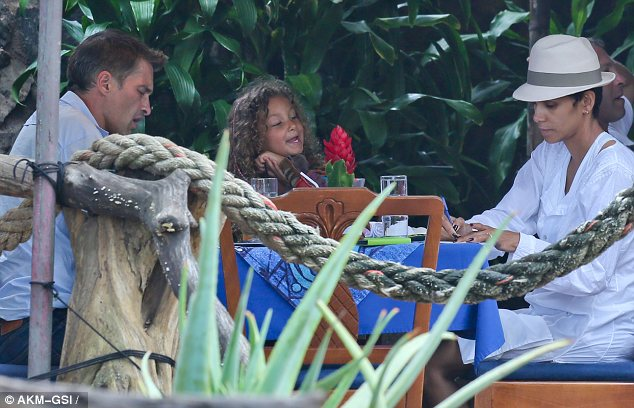 Three's not a crowd: Olivier Martinez took Halle Berry and her daughter Nahla out for lunch on Saturday in Hawaii