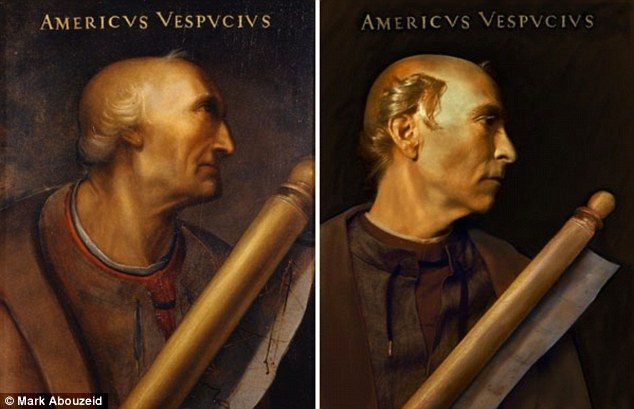 Famous faces: This is a portrait of the 15th Century cartographer Amerigo Vespucci, left, standing alongside a modern-day doppleganger