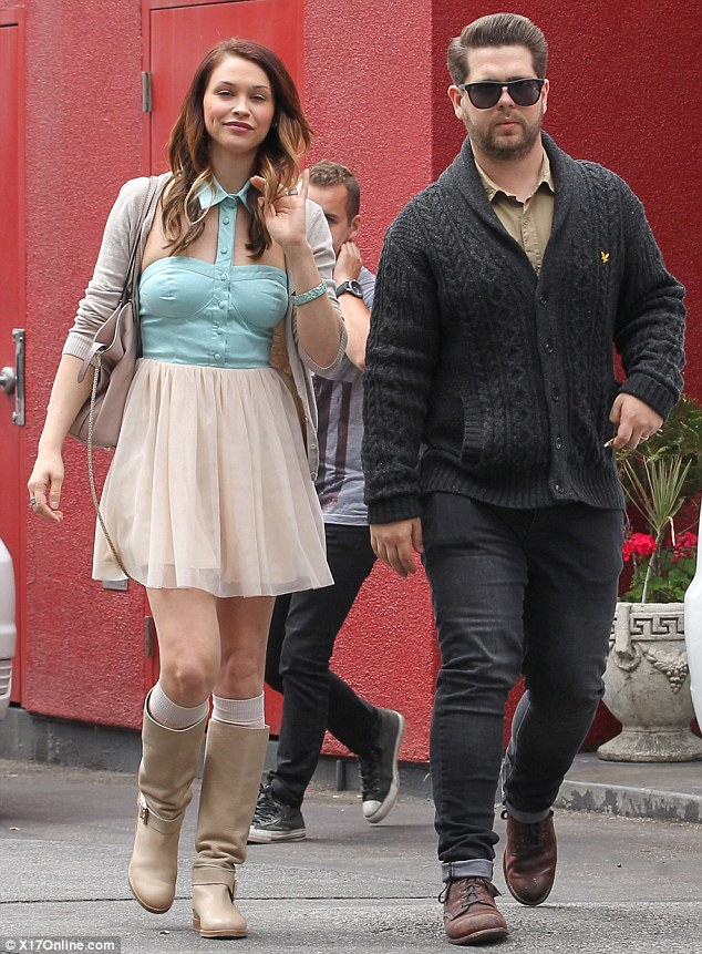 Easter outing: Jack Osbourne with wife Lisa Stelly in Los Angeles, on Sunday evening
