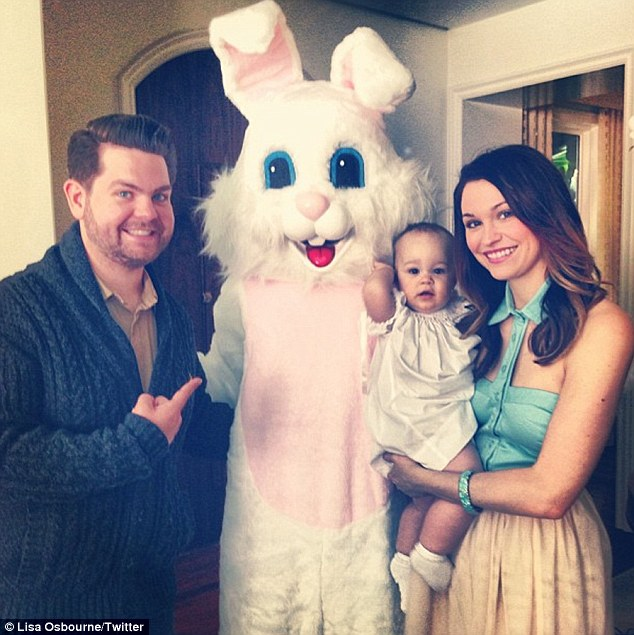 New friend: Jack and Lisa Osbourne and their daughter Pearl meet the Easter Bunny