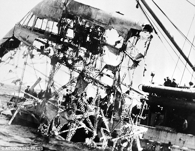 Recovery: This is the control cabin of the Akron, which was pulled aboard the USS Falcon nearly 20 days after the disaster