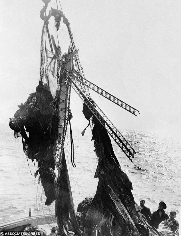Scraps: The bent frame of the Akron shows that the craft quickly collapsed when it hit the water