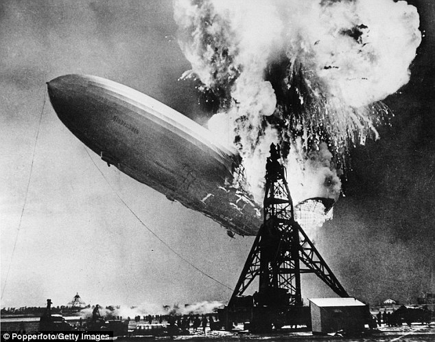World-renowned: The shocking footage of the Hindenburg crashing and bursting into flames, along with the announcer's cries of 'Oh, the humanity!' made the disaster famous