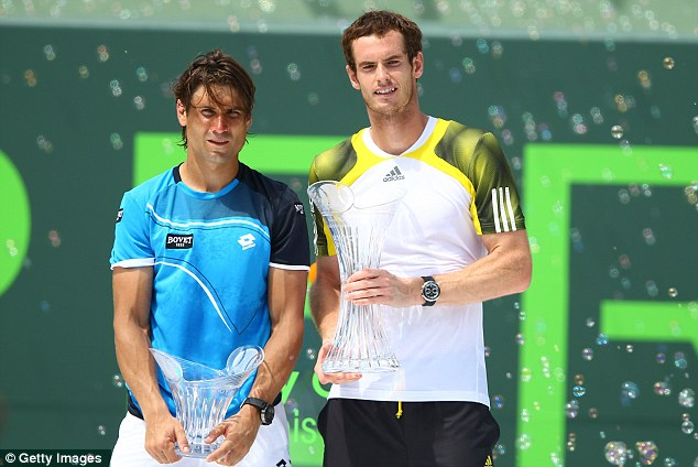 Battling performance: Murray (right) beat Ferrer (left) in a thrilling clash