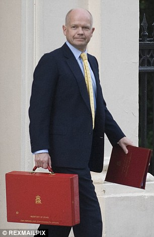 Memento: Foreign Secretary William Hague toting his red briefcase