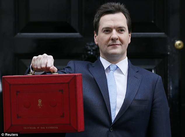 Iconic: Chancellor George Osborne with the most famous of all ministerial boxes - the Budget briefcase