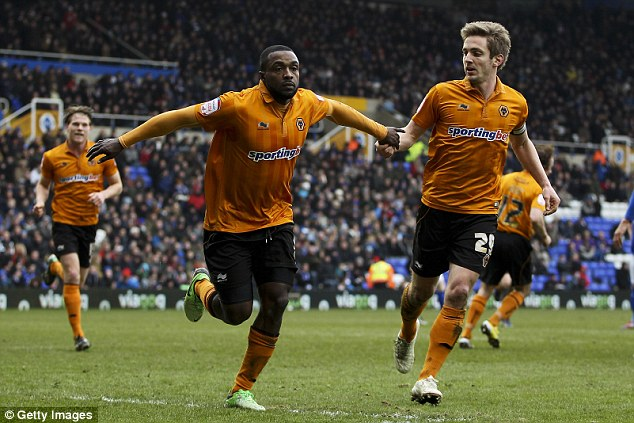Unassailable: Sylvan Ebanks-Blake celebrates after scoring the third goal for Wolves from the penalty spot
