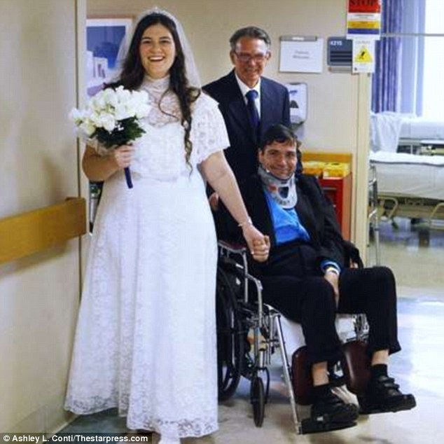 Change of venue: Mandy Billings moved her wedding to hospital last minute after her father, Troy, was rushed in for emergency neck surgery last week