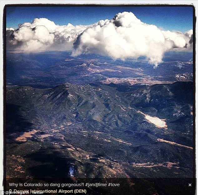 Picturesque: Jennie flew back stateside on Saturday, arriving in Denver and posting a snap of the picturesque Rocky Mountains