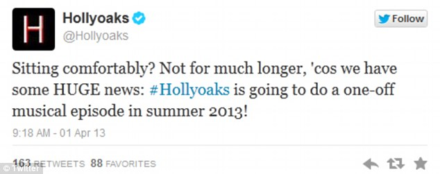 Music to the ears: The public were relieved to see Hollyoaks was not becoming a West End musical