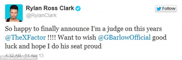 In his dreams: Rylan Clarke pulled a prank on his followes announcing he was joining X Factor as a judge