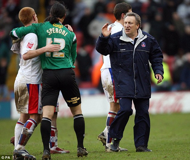 Shake on it: Warnock also had a spell as Crystal Palace manager