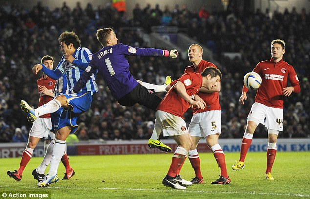 Stalemate: Charlton held promotion-chasing Brighton to a 0-0 draw on Tuesday at the Amex
