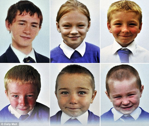 Tragic end: Kind-hearted locals raised £15,000 for the funeral of Mick Philpott's six children (top row, l-r) Jayden, five, Jessie, six, Jack, eight, (bottom row, l-r) John, nine, Jade, 10, and Duwyane, 13