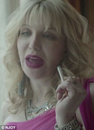 'Relax': In the advertisement, the former Hole singer responds to a woman who told her not to smoke by telling her that 'it's a f***ing NJOY'