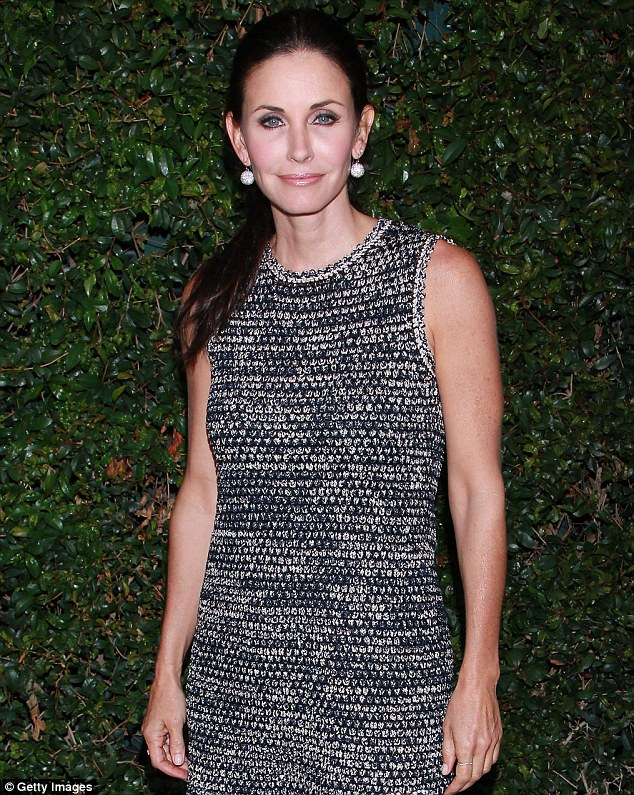 Still glamorous after all these years: At 48, Cox remains a stunningly beautiful woman in this tweed Chanel dress