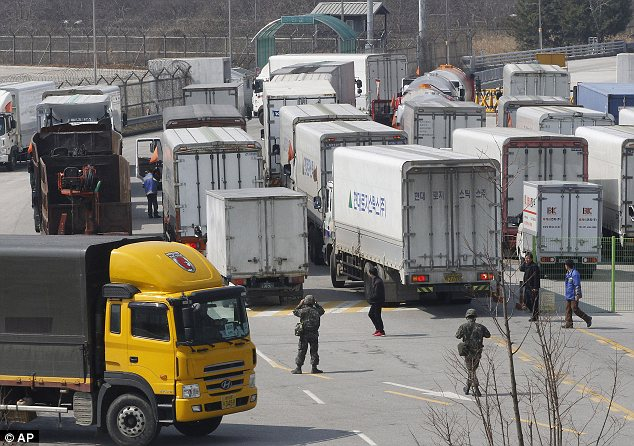 Blocked: South Korean vehicles and workers have been banned from entering North Korea today