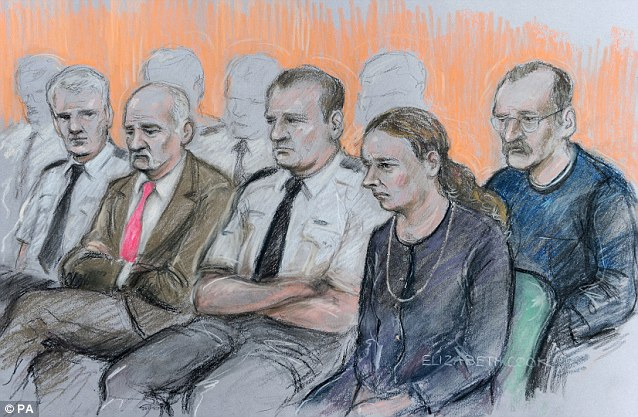 In the dock: Mick Philpott (second from left) and wife Mairead (second from right) appear at Nottingham Crown Court along with co-defendant Paul Mosley (right) ahead of their trial