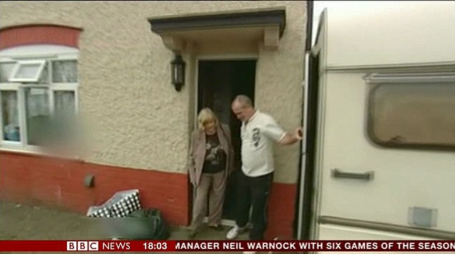 'The girls take it in turns with me in here': Philpott shows Ann Widdecombe the caravan by his house where he would sleep with his wife Mairead and ex-lover Lisa Willis on different nights