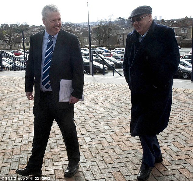 Accusing: Raith chairman Turnbull Hutton (right) claimed Longmuir has kowtowed to the Old Firm