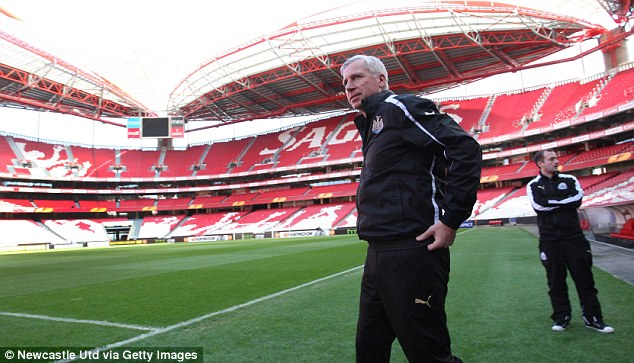 Making an appearance: Newcastle's Alan Pardew steps on to the pitch at the Estadio da Luz