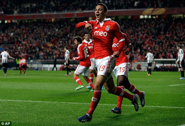 Equaliser: Rodrigo pounced from close range to bring Benfica level against Newcastle