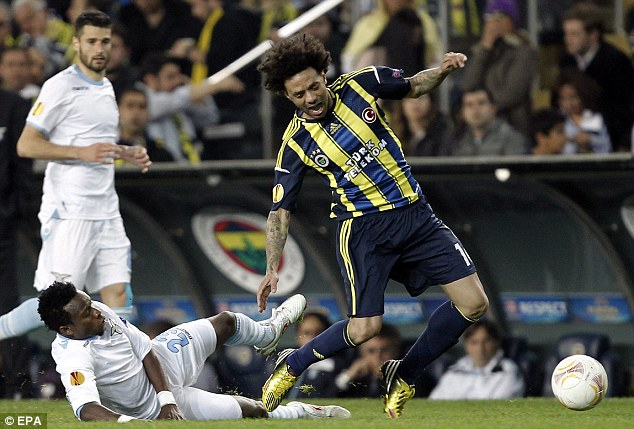 Seeing red: Ogenyi Onazi was sent off for Lazio after fouling Fenerbahce's Cristian