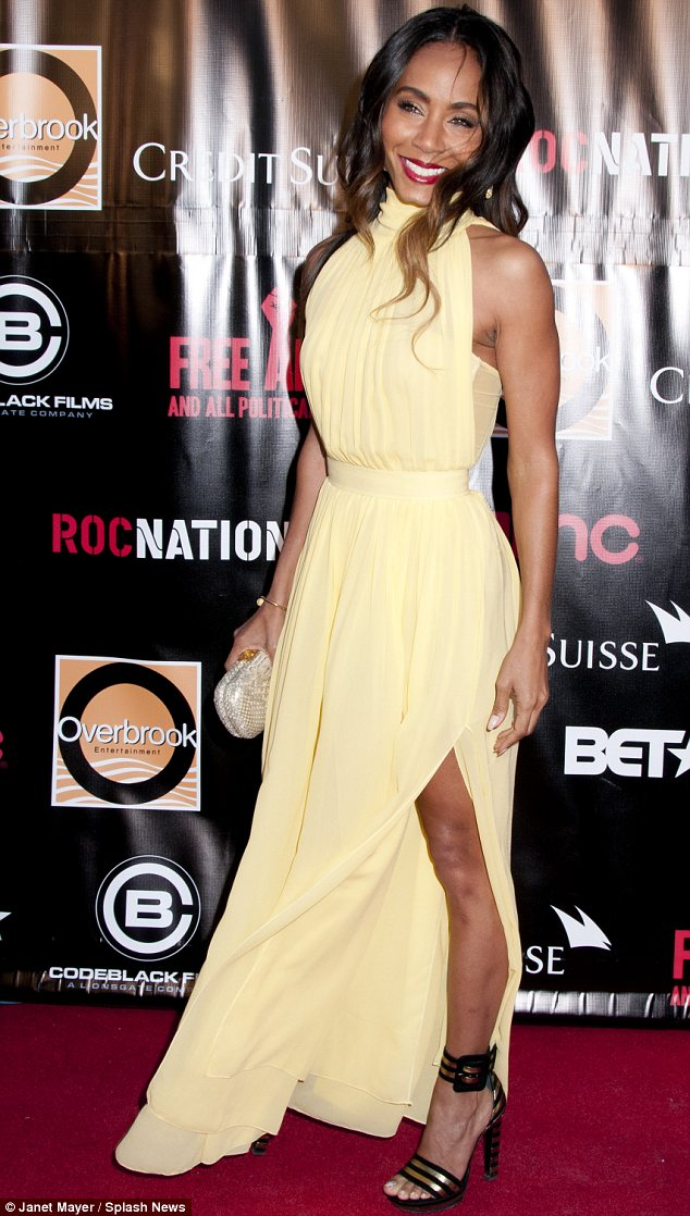 Showstopper: Jada Pinkett Smith wowed in a pale yellow gown at the premiere of Free Angela And All Political Prisoners in New York City on Wednesday after rocking two other outfits earlier in the day