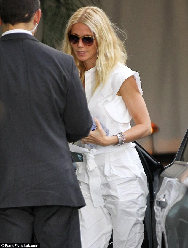 Fresh: Gwyneth also had her husband and children in Los Angeles with her but spent some time solo on Wednesday afternoon
