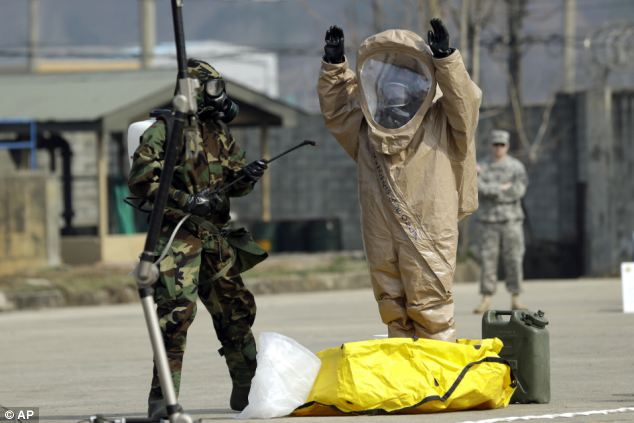 Exercise: Soldiers check mock chemical pollutants on one another during a demonstration
